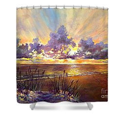 Coquina Beach Sunset Shower Curtain by Lou Ann Bagnall