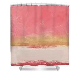 Coral And Gold Abstract 1- Art By Linda Woods Shower Curtain