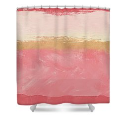 Coral And Gold Abstract 2- Art By Linda Woods Shower Curtain