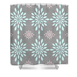 Coral And Turquoise Gray Shower Curtain