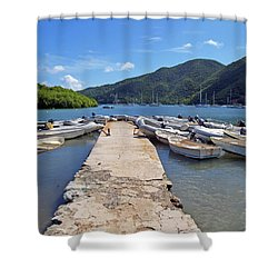 Coral Bay Dinghy Dock Shower Curtain