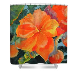 Shower Curtain featuring the painting Coral Begonias by Kathy Braud