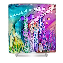 Coral Columns Shower Curtain by Alene Sirott-Cope