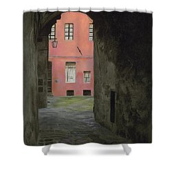 Coral Corridor Siena Italy Shower Curtain by Kelly Borsheim