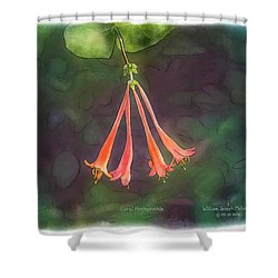Coral Honeysuckle Shower Curtain