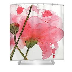 Shower Curtain featuring the painting Coral Poppies by Dawn Derman