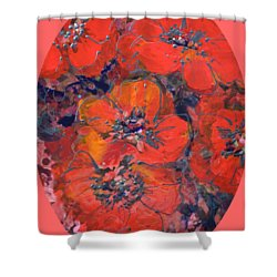 Coral Poppies Shower Curtain