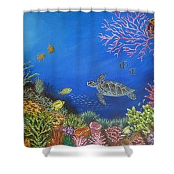 Shower Curtain featuring the painting Coral Reef by Amelie Simmons