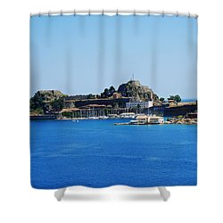 Corfu Fortress On Blue Water Shower Curtain