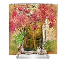 Shower Curtain featuring the digital art Corfu Kitty by Lois Bryan
