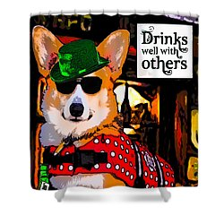 Shower Curtain featuring the digital art Corgi - Drinks Well With Others by Kathy Kelly