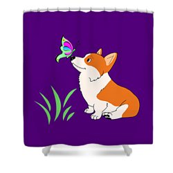 Shower Curtain featuring the drawing Corgi With Butterfly T-shirt by Kathy Kelly