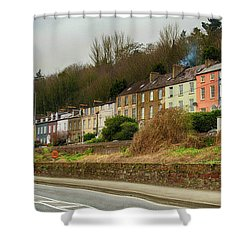 Cork Row Houses Shower Curtain by Marie Leslie