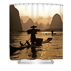 Cormorant Fisherman At Sunset Shower Curtain