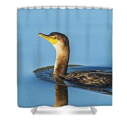 Cormorant Reflection Shower Curtain