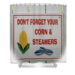 Shower Curtain featuring the photograph Corn And Steamers by Beth Saffer