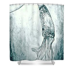Corn In Space Shower Curtain by Michelle Calkins