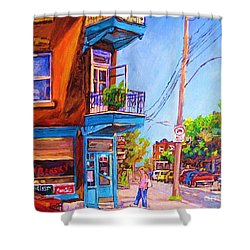 Shower Curtain featuring the painting Corner Deli Lunch Counter by Carole Spandau