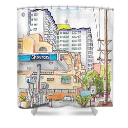 Corner La Cienega Blvd. And Hallway, Chevron Gas Station, West Hollywood, Ca Shower Curtain