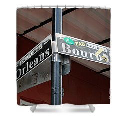 Corner Of Bourbon Street And Orleans Sign French Quarter New Orleans Shower Curtain