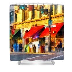 Corner Of Center And Merchant Rutland Vt Shower Curtain by Susan Savad