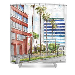 Corner Wilshire Blvd. And Curson, Miracle Mile, Los Angeles, Ca Shower Curtain