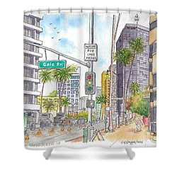 Corner Wilshire Blvd. And Gale Dr., Beverly Hills, Ca Shower Curtain