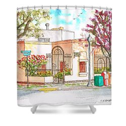 Corner With Bougainvillas In San Luis Obispo, California Shower Curtain