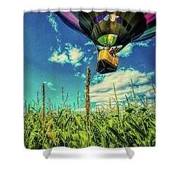 Cornfield View Hot Air Balloons Shower Curtain by Bob Orsillo