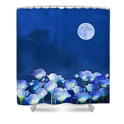 Shower Curtain featuring the mixed media Cornflowers In The Moonlight by Valerie Anne Kelly