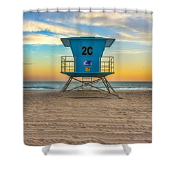 Coronado Beach Lifeguard Tower At Sunset Shower Curtain
