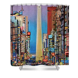 Corrientes Avenue Shower Curtain by Bernardo Galmarini
