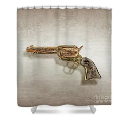 Corroded Peacemaker Shower Curtain by YoPedro