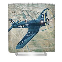Corsair Over Mojave Shower Curtain by Douglas Castleman