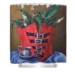 Shower Curtain featuring the painting Corset And Calla Lily by Laura Aceto