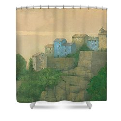 Corsican Hill Top Village Shower Curtain by Steve Mitchell