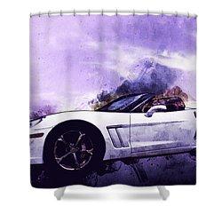 Corvette Convertible Pen And Watercolor Shower Curtain