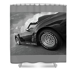 Shower Curtain featuring the photograph Corvette Daytona In Black And White by Gill Billington