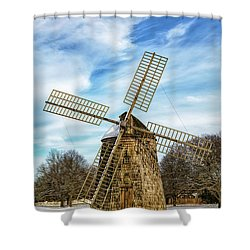 Shower Curtain featuring the photograph Corwith Windmill Long Island Ny Cii by Susan Candelario