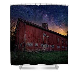 Shower Curtain featuring the photograph Cosmic Barn by Bill Wakeley