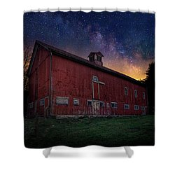 Shower Curtain featuring the photograph Cosmic Barn Square by Bill Wakeley