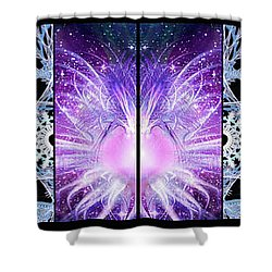 Shower Curtain featuring the mixed media Cosmic Collage Mosaic Left Mirrored by Shawn Dall