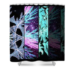 Shower Curtain featuring the mixed media Cosmic Collage Mosaic Left Side Flipped by Shawn Dall
