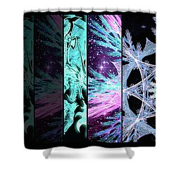 Shower Curtain featuring the mixed media Cosmic Collage Mosaic Left Side by Shawn Dall