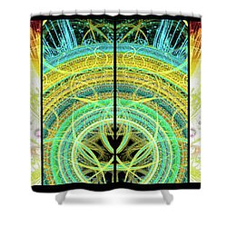Shower Curtain featuring the mixed media Cosmic Collage Mosaic Right Side Mirrored by Shawn Dall