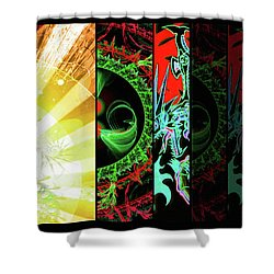 Shower Curtain featuring the mixed media Cosmic Collage Mosaic Right Side by Shawn Dall