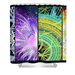 Shower Curtain featuring the mixed media Cosmic Collage Mosaic by Shawn Dall