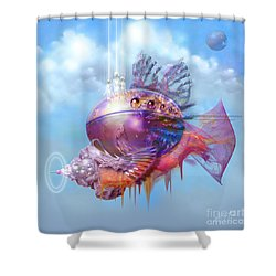 Shower Curtain featuring the digital art Cosmic Fish Spaceship by Alexa Szlavics