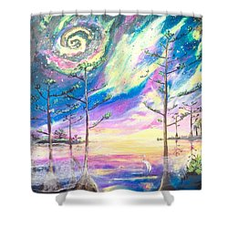 Shower Curtain featuring the painting Cosmic Florida by Dawn Harrell