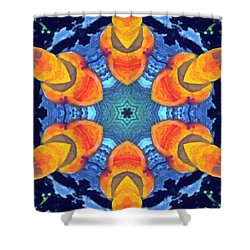 Shower Curtain featuring the painting Cosmic Fluid by Derek Gedney